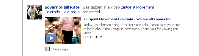 Zeitgeist Movement Colorado tags Governor Bill Ritter on Facebook