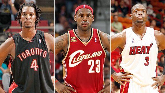 Chris Bosh, Toronto Raptors, LeBron James, Cleveland Cavaliers, Dwyane Wade, Miami Heat, 2003, 2010, NBA, National Basketball Association, free agents, free agency
