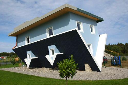 house, upside down, design