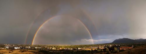 rainbow, double rainbow, full rainbow, full double rainbow, city, Colorado, Colorado Springs, Waldo Canyon Fire, wildfire, fire, Tuesday, July 3