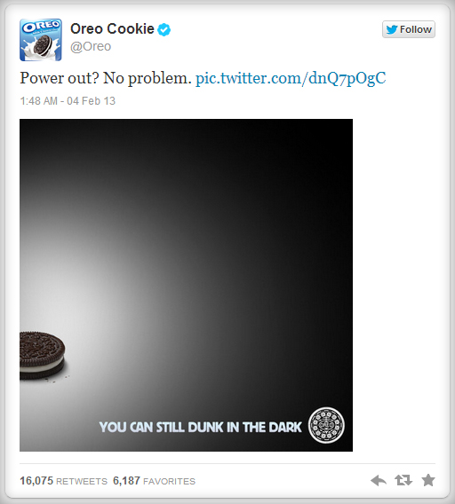 Oreo, cookie, Nabisco, tweet, pic, Twitter, Super Bowl, ad, advertising, Blackout, black out, 2013