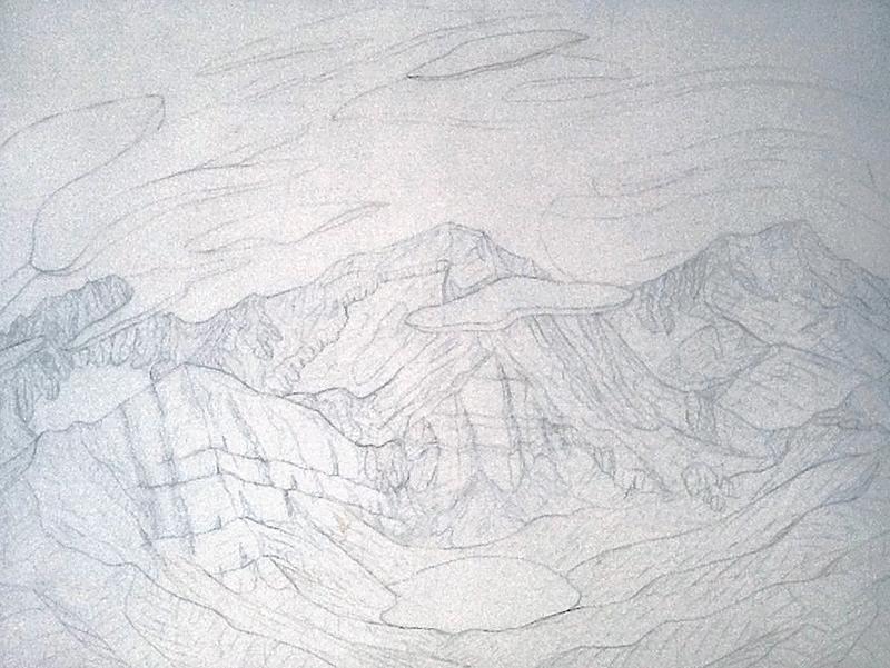 Tracy Felix, art, artist, painting, sketch, Mount Owen, Megan Lake, Rito Alto Peak, Sangre de Cristo, mountains, Colorado