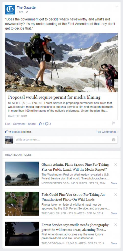 Gazette, Colorado Springs, news story, Facebook, news feed, wilderness, permit, shooting, media, filming