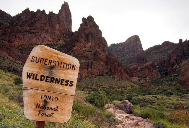 Superstitions, wilderness, sign, forest service, national forest, federal land, Arizona, Apache Junction