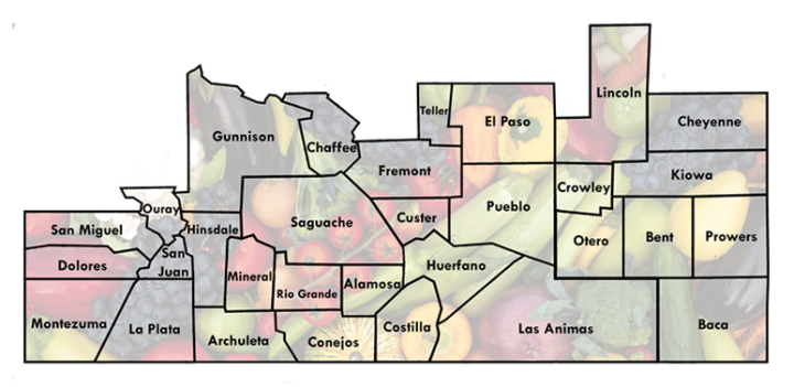Care and Share, Food Bank, Southern Colorado, counties, Colorado, hunger, nonprofit, service area, map