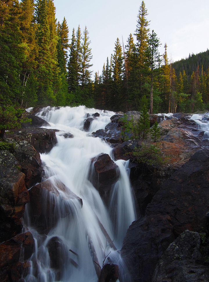 creek, falls, pines, Indian Peaks Wilderness, Colorado