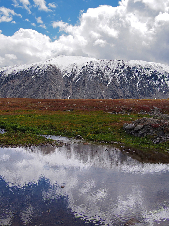 Mount Lincoln, snow, water, pool, Colorado, mountains, nature, reflection