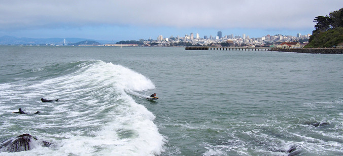 San Francisco, SF, city, skyline, surf, waves, bodyboarding