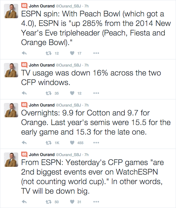 Twitter, John Ourand, media, reporter, journalist, Sports Business Journal, SBJ, ESPN, College Football Playoff, CFP