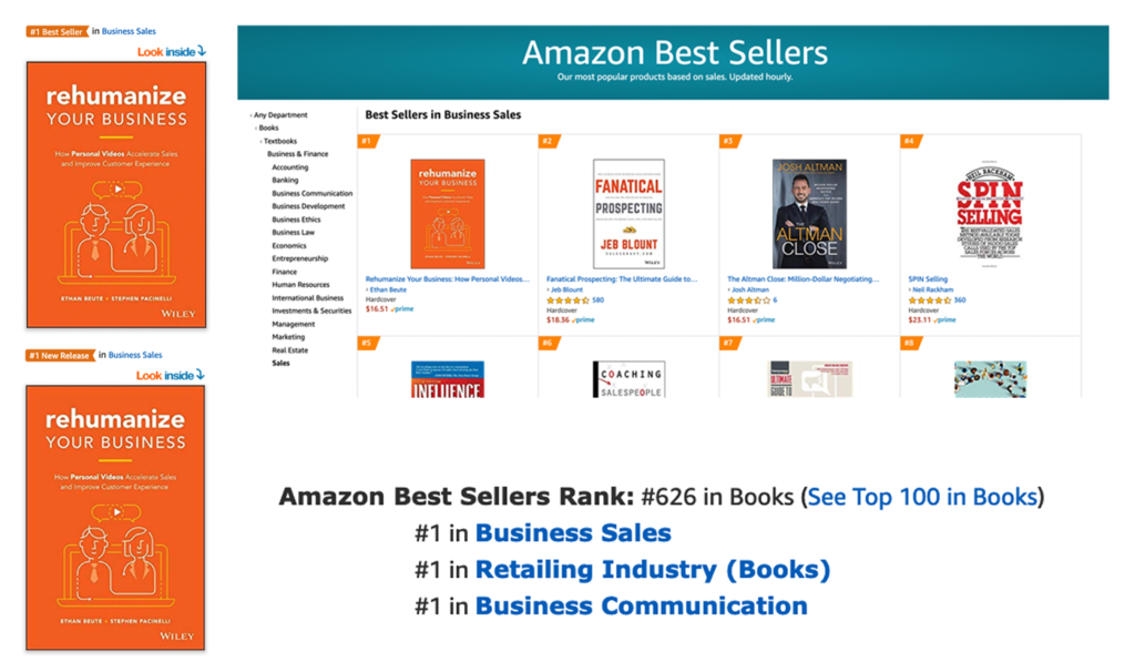 Rehumanize Your Business, Ethan Beute, BombBomb, book, write a book, publish a book, bestselling book, bestseller, Amazon bestseller